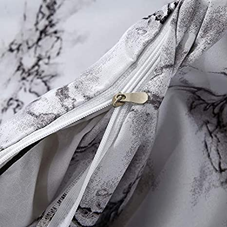 Black White and Gray Grey Modern Pattern Printed Marble Duvet Cover Set White-Marble, Full Soft Microfiber Bedding with Zipper Closure