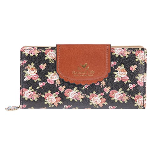 Damara Womens Patchwork Flap Clasp Expandable Zipper Wallet,Black