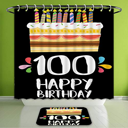 Waterproof Shower Curtain and Bath Rug Set 100Th Birthday Decorations Old Legacy 100 Birthday Party Cake Candles On Black Backdrop Multico Bath Curtain and Doormat Suit for Bathroom 66