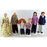 Melody Jane Dollhouse Modern Family of 6 People 1:12 Scale Miniature Porcelain Figures