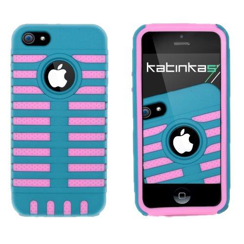 Katinkas Grid Dual Hybrid Case für Apple Apple iPhone 5 turquoise/rosa