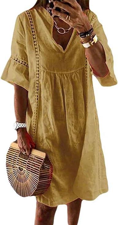 Maisheng Vestido Camisero de Lino para Mujer - Mini Vestido de Playa Bohemia Suelta de Manga Corta de Talla Grande: Amazon.es: Ropa y accesorios