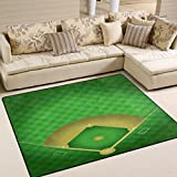 ALAZA Baseball Field Green Sport Area Rug Rugs for Living Room Bedroom 7' x 5'