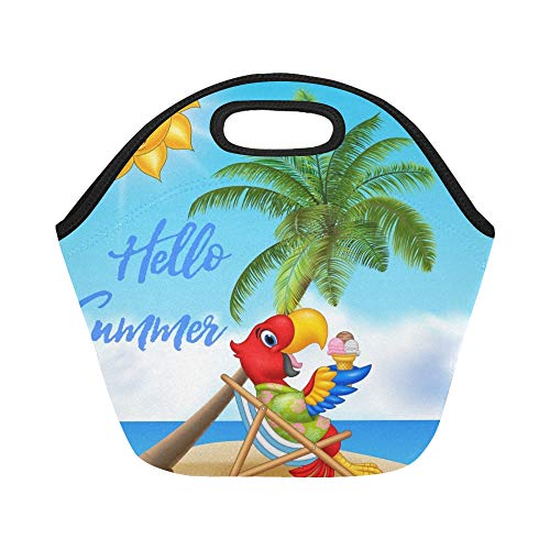 Insulated Neoprene Lunch Bag Summer Parrot Eating Ice Cream Large Size Reusable Thermal Thick Lunch Tote Bags For Lunch Boxes For Outdoors,work, Office, ()