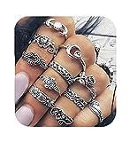 Cyntan Midi Finger Rings Moon Flower Ring Set Silver Tone 11 Pcs/Set