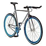 Big Shot Bikes | Dreamer Blue | Track Bike | Single Speed or Fixed Gear | Fixie | Custom Fixed Gear Bikes | Chrome Plated & Blue Accents | 4130 Chromoly | Medium