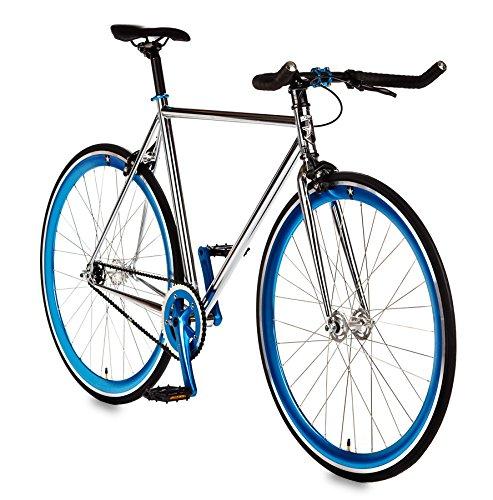 (Big Shot Bikes | Dreamer Blue | Track Bike | Single Speed or Fixed Gear | Fixie | Custom Fixed Gear Bikes | Chrome Plated & Blue Accents | 4130 Chromoly | Large)
