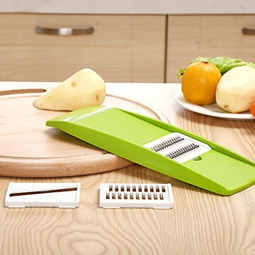 Mandolina – 3 en 1 robot de cocina picadora espiral Spiralizer cortador de frutas Ensalada cortador de verduras y frutas (cortador picadora manual Mini mano Con tapa/cuchilla de cortador de acero inoxidable: