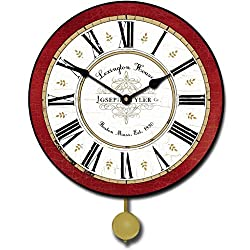 Vermont Red Pendulum Wall Clock, Available in 5 sizes, Whisper Quiet, non-ticking