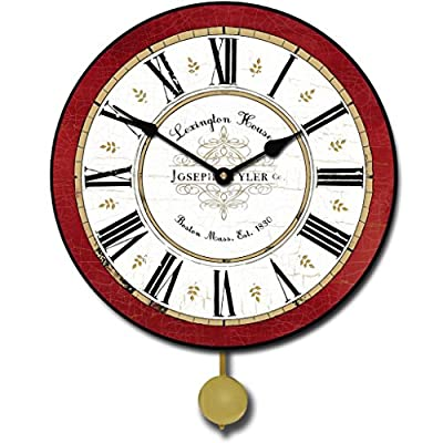 "The Big Clock Store Vermont Red Pendulum Wall Clock, Available in 5 sizes, Whisper Quiet, non-ticking - LIFETIME  WARRANTY.  We will replace your mechanism (not the entire clock) for as long as you own it. Mechanisms are tested before mailing, however, if it is damaged in shipping we will mail you a replacement. Some assembly is required to replace the mechanism. Our contact info is on clock back. (The warranty is through us not Amazon). SILENT QUARTZ MECHANISMS! Our clocks are very quiet. No annoying ticking!! Our clocks sit flat against the wall and do not wobble. The mechanisms are as recessed as possible, which makes for a nicely finished product. HANDMADE IN AMERICA BEAUTIFUL **PRINTED** FACE ON SOLID PIECE of 1/2"" MDF WOOD PRODUCT. The face is NOT a sticker. It is printed directly on the wood. Our clocks feel solid because of the thicker mdf wood. Our edges are nicely rounded. It takes us just a few days to make your clock. We are usually much faster than is listed. - wall-clocks, living-room-decor, living-room - 513bnc4KpoL. SS400  -"