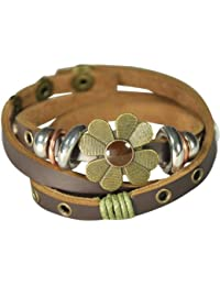 Sunflower PU Leather Vintage Style Exotic Wrapped Fashion Snap Bracelet
