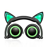 Cat Ear Foldable Adjustable Hearsets Earphones Flash Blue Light (green)