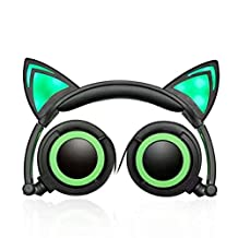 Wired Headphones Over-Ear Foldable Cat Ear Earphones with LED Light For Girls,Children.Compatible for Mp3 Mp4 player,iPhone 6S,Android Phone. (green)