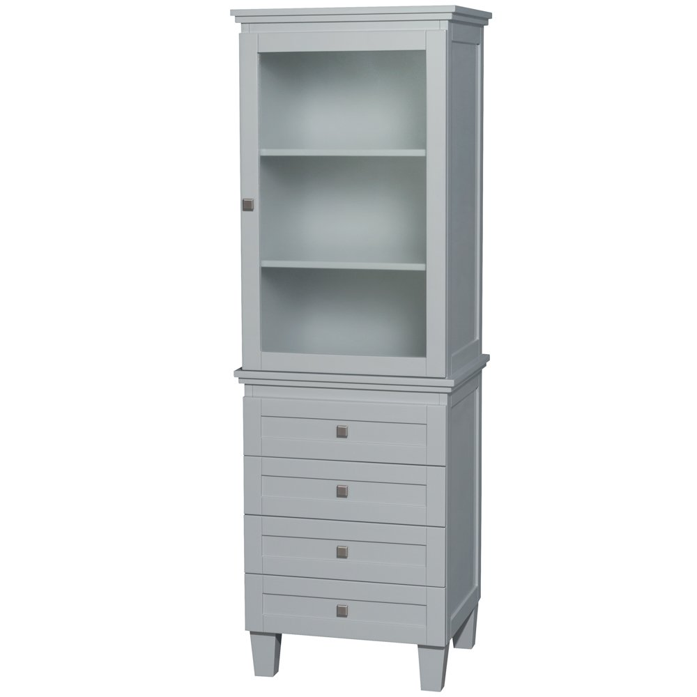 Wyndham Collection Acclaim Bathroom Linen Tower in Oyster Gray with Shelved Cabinet Storage and 4 Drawers