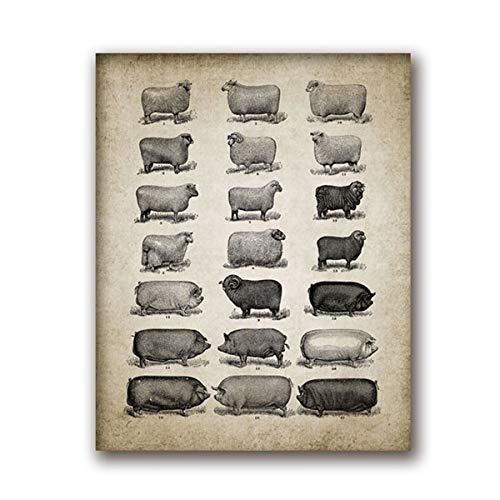 REDWPQ Vintage Animales De Granja Cartel Imprimir Cerdo De ...