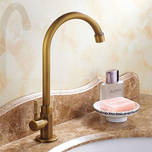 (Full coppper antique faucet/Desktop vertical lavatory faucet/Continental rotation Washbasin faucet-A)