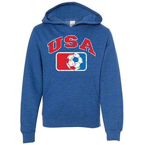 (USA Vintage Soccer Team Youth Sweatshirt Hoodie - Royal Heather Medium)