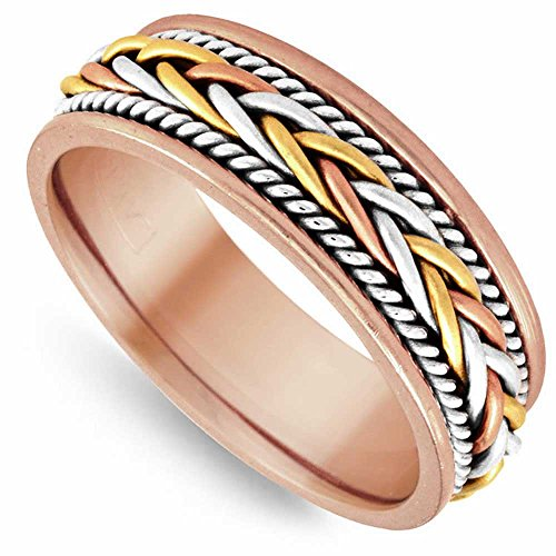 14K Tri Color Gold Braided French Braid Men's Comfort Fit Wedding Band (7mm) Size-17c1 ()