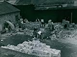 Vintage photo of A corner of the brick-laying section where ex-service men trainee buildres taught the art of brick-laying.