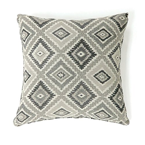 Furniture of America Zane 18'' Square Throw Pillow in Gray (Set of 2)