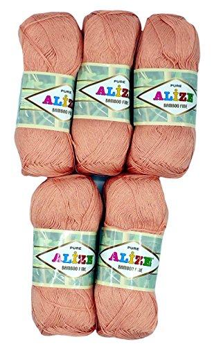 Alize Bamboo Fine Batik wool 5 x 100 gram single-colour, 500 total grams (17,63 oz) knitting yarn 100% Bamboo natural 2405 yds (2200 meters) (salmon 145)