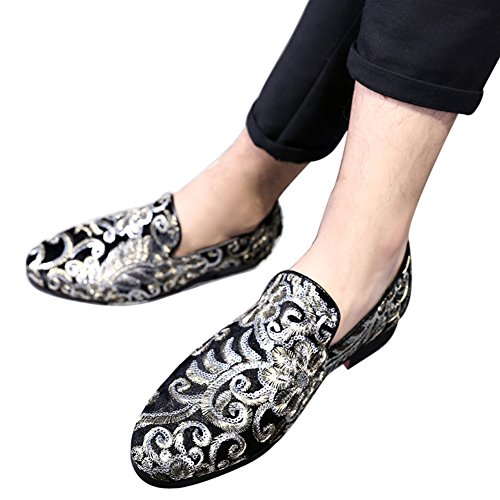 Slip Dress On Velvet Shoes Flats Loafers Wedding Sequins Moccasin Gold Embroidery Smoking Mens Slippers WUav6p