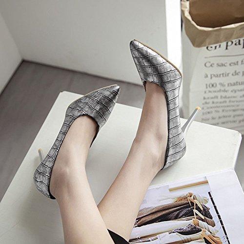 Eclipse Femmes Classique Mode Stiletto Bout Pointu Haut Talon Robe Pompe Chaussures Argent