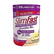SlimFast Advanced Nutrition High Protein Smoothie Powder, Vanilla Cream, 11.01 Ounce
