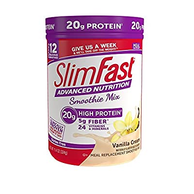 SlimFast Advanced Nutrition High Protein Smoothie Powder, Vanilla Cream, 11.01 Ounce