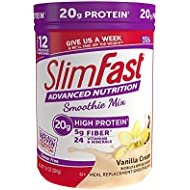 SlimFast Advanced Nutrition High Protein Smoothie Powder, Meal Replacement, Vanilla Cream, Great Taste, Great for Recipes, 11.4 Ounce Canister