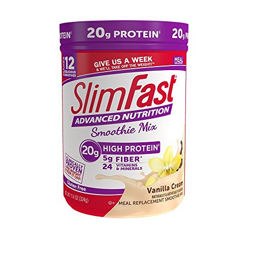 SlimFast Advanced Nutrition Vanilla Cream Smoothie Mix, Weight Loss Meal Replacement, 20g of protein, 12 servings, 11.4 Ounce Canister