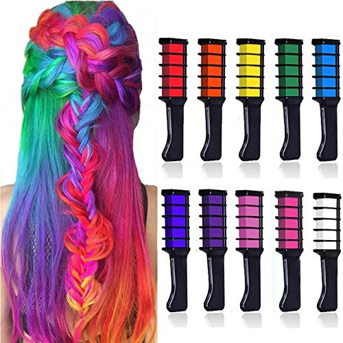 Kalolary 10 Color Hair Chalk for Girls Christmas Gift, Non-Toxic Washable Temporary Bright Hair Color Dye for Girls Age 4 5 6 7 8 9 10+ Christmas New Year Birthday Party Cosplay DIY (Children Hair Color)