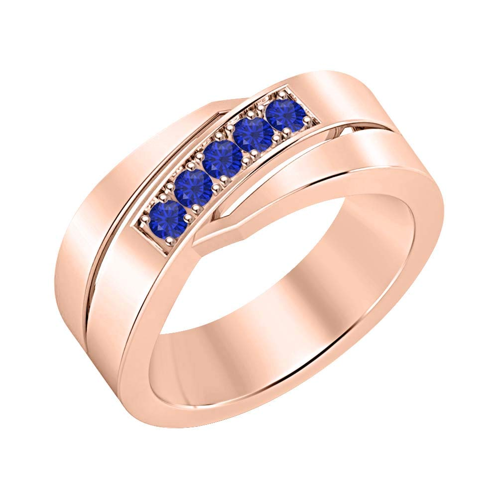 SVC-JEWELS 14k Rose Gold Plated Round Cut Created Gemstones Mens 5-Stone Wedding Band Anniversary Ring 925 Sterling Silver