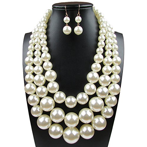 Faux Big White Pearl 3 Layer Chunky Necklace and Earring Set Bib Necklace Set - Big Costumes Jewelry Necklaces