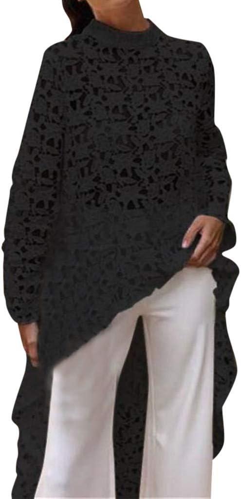 Loose Maxi Tunic Black tunics with lace Black Asymmetric Tunic Oversized Long Sleeve Blouse