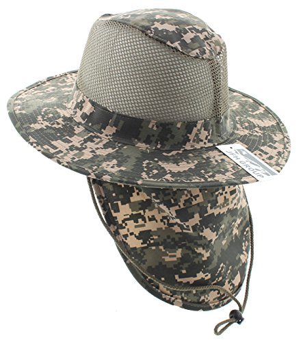 JFH GROUP Wide Brim Men Safari/Outback Summer Hat with Neck Flap (Large, Digital Camo) ()