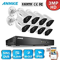 ANNKE HD-TVI 3MP License Plate Security Camera System, 16CH 5-in-1 4K Video Recorder and (8) 3-Megapixel Outdoor Metal Bullet Cameras, Motion Detection, Super Night Vision-NO HDD