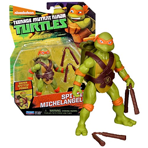 "Playmates Year 2016 Teenage Mutant Ninja Turtles TMNT 5"" Tall Figure - SPITTIN' MICHELANGELO with Water Spitting Feature and Nunchucks"