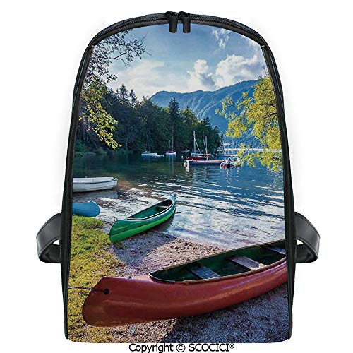 Cabelas Canoe - SCOCICI Casual Stylish Backpack Bohinj Lake with Boats Canoes Triglav National Park Julian Alps Slovenia Print 2019 Deals! One Size