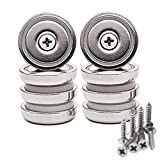 "Wukong Heavy Duty Rare Earth Neodymium Cup Magnets Strong Powerful with 90 lbs Pull Capacity Each, 1.26"" x 0.32'' Disc Countersunk Hole Round Base Pot Magnets - Includes Mounting Screws."