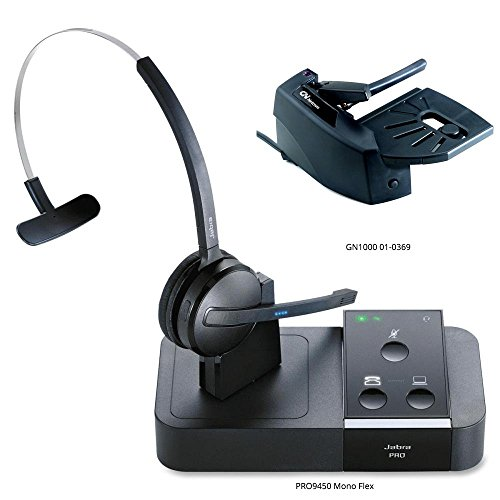 Jabra PRO 9450 Mono Flex-Boom Wireless Headset with GN1000 Remote Handset Lifter for Deskphone & Softphone ()