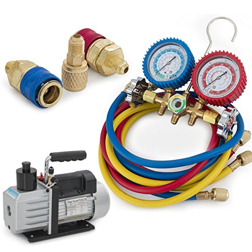 ARKSEN R134a R12 R22 R502 Manifold Gauge & 5CFM 1/2HP Vacuum Pump 5ft HVAC Kit by ARKSEN
