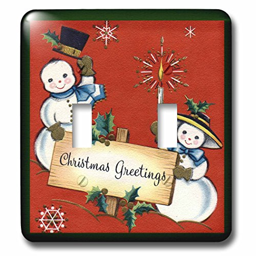 3dRose lsp_172792_2 Snow Couple with a Christmas Greetings Light Switch Cover (Greetings Snow)