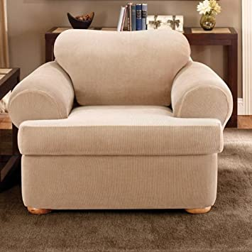 sure fit stretch stripe 2piece chair slipcover sand sf37727