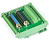 Electronics-Salon DB25 D-SUB DIN Rail Mount Interface Module, Male / Female, DSUB Breakout Board.