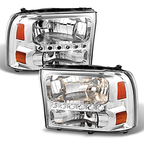 Ford F250/F350 Superduty Excursion OE Replacement Chrome Bezel Headlights Driver/Passenger Headlamps