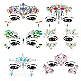 Face Gems, Ufar 6 Pack Face Jewels Girl's Makeup Crystals Stickers Face Temporary Tattoo Glitter Rhinestone Adhesive for Festival Rave Party Bindi Eyes Face Body Forehead Decorations Jewels Stickers