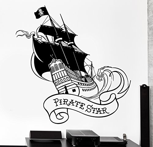 Unfettered Wall Vinyl Decal Pirate Star Ship Yacht With Black Sail Ocean Home Interior Decor z4137 Lover Red