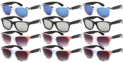 Edge I-Wear 12 Pack Neon Party Sunglasses with UV 400 Lens - Wedding For Favors Sunglasses