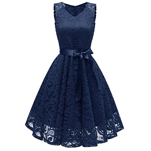 - Women Dress, Vintage Floral Lace Off Shoulder Party Valentine's Day Navy